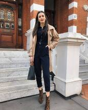 jumpsuit,navy,ankle boots,leopard print,handbag,trench coat