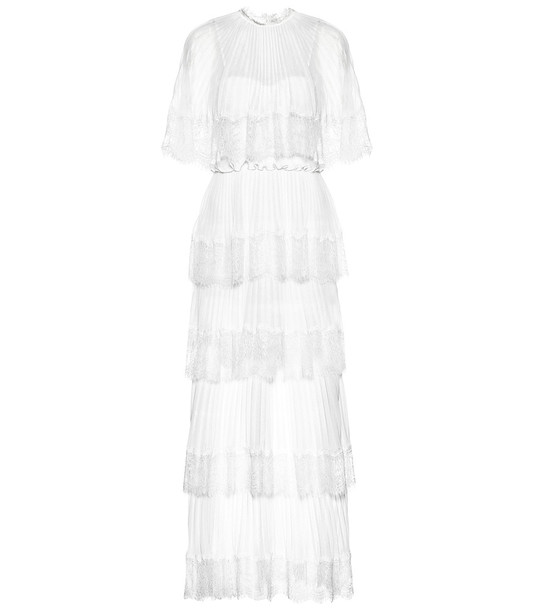 Self-Portrait Exclusive to Mytheresa – Tiered crêpe dress in white