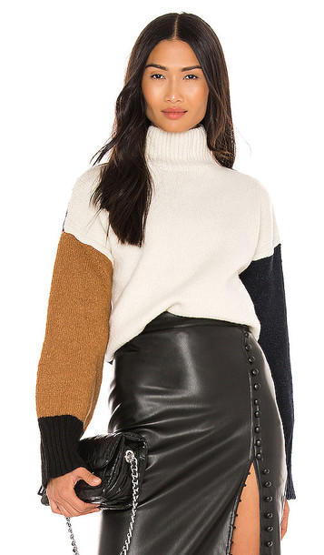 FRAME Color Blocked Sweater in White