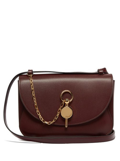 Jw Anderson - Keyts Leather Cross Body Bag - Womens - Burgundy