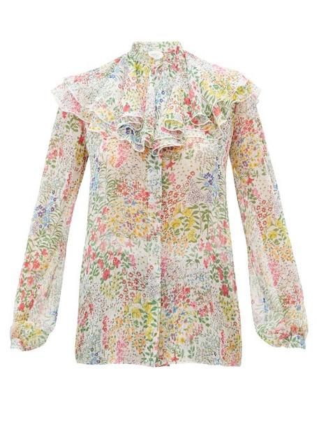 Giambattista Valli - Ruffled Floral-print Silk-chiffon Blouse - Womens - Ivory Multi