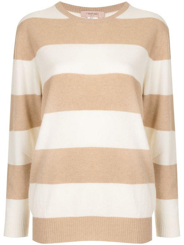 Twin-Set Breton stripe jumper in brown