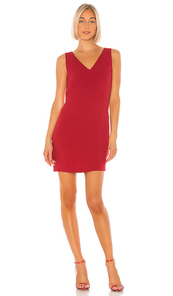 Theory V-Neck Shift Dress in Red