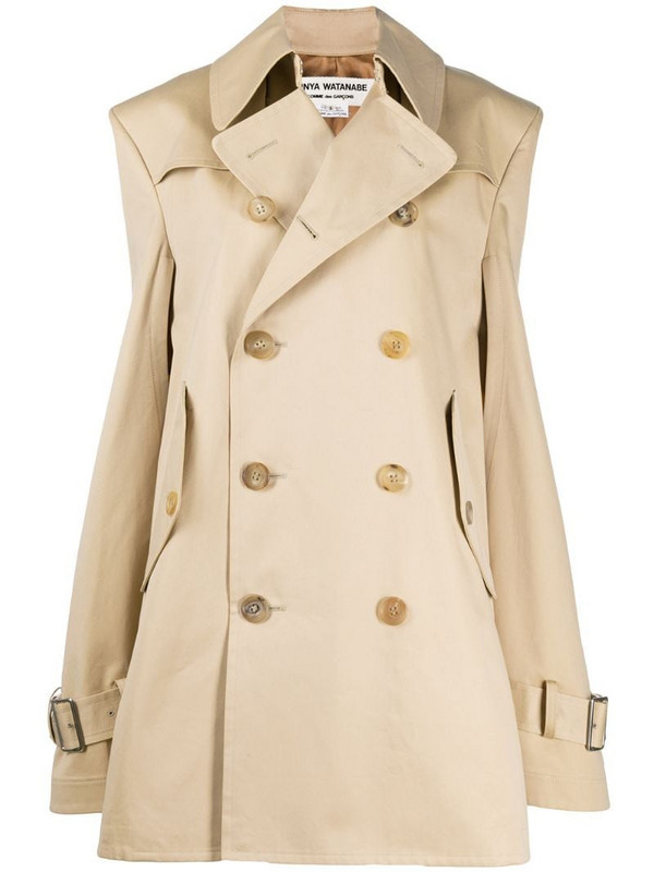Junya Watanabe oversized trench-style cape in neutrals