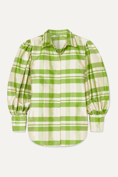 AVAVAV - Checked Silk-charmeuse Blouse - Green