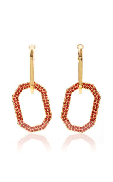 Oscar de la Renta Elongated Pave Octagon Link P Earring in red