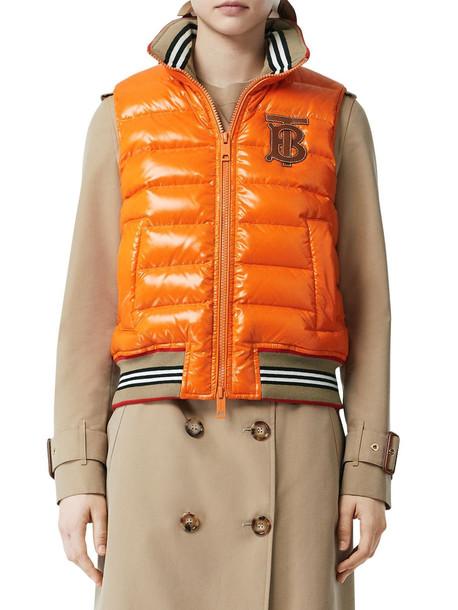 BURBERRY Logo Quilted Nylon Vest in orange