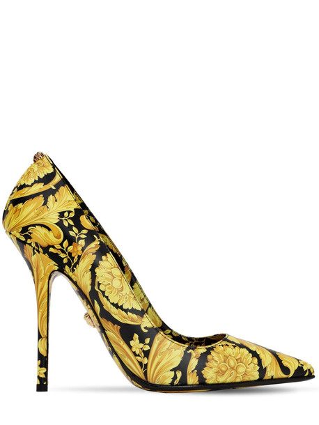 VERSACE 110mm Barocco Printed Leather Pumps in black / gold