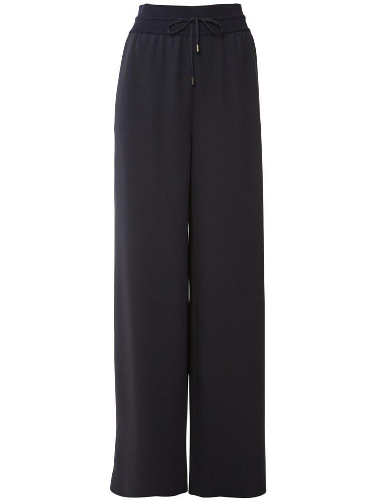 LORO PIANA Silk Knit Cady Wide Leg Pants in navy