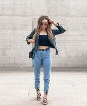 jeans,high waisted jeans,black sandals,black leather jacket,crop tops,black top,black bag