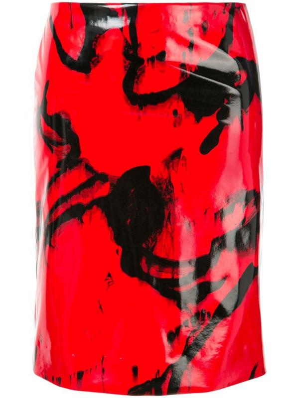 CK Calvin Klein printed vinyl-effect skirt in red