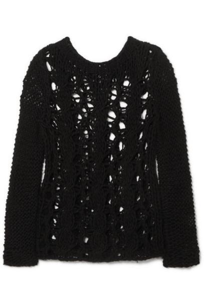 SAINT LAURENT - Distressed Open-knit Sweater - Black