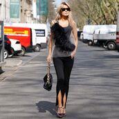 top,tank top,feathers,black pants,slit,black sandals,black bag