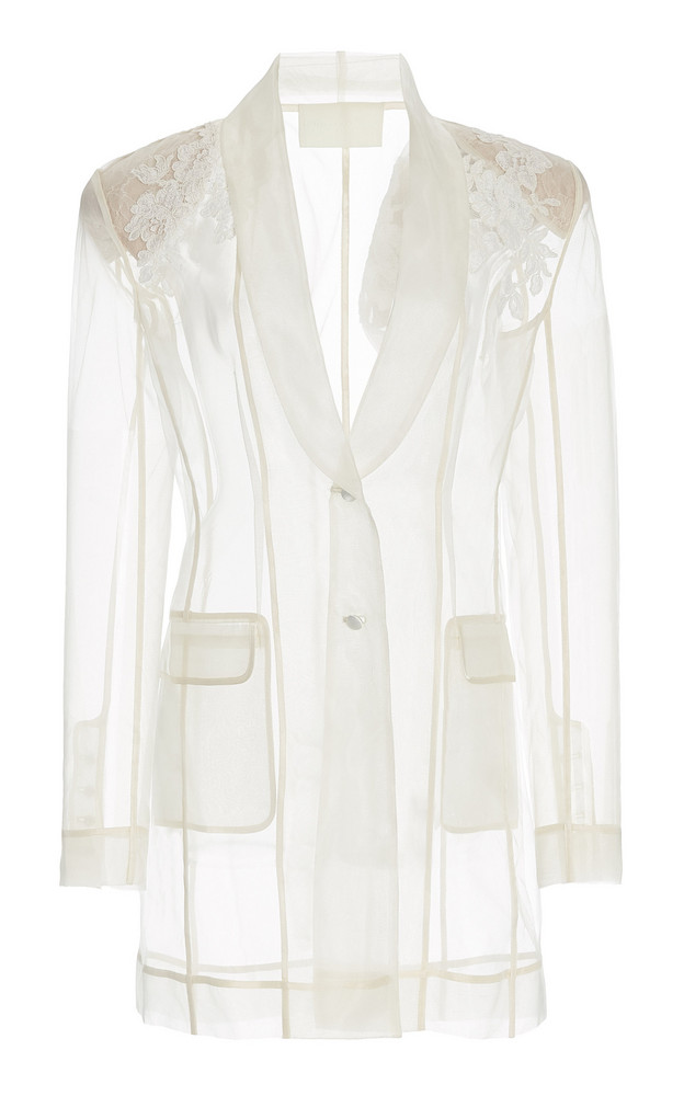 Danielle Frankel Astrid Appliquéd Organza Blazer in white