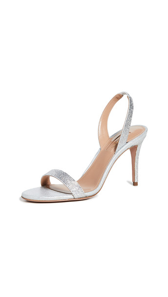 Aquazzura 85mm So Nude Sandals in silver