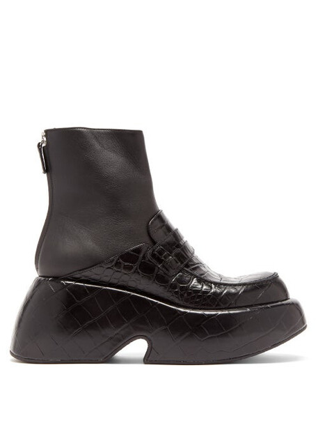 Loewe - Wedged Croc-effect Leather Moccasin Ankle Boots - Womens - Black
