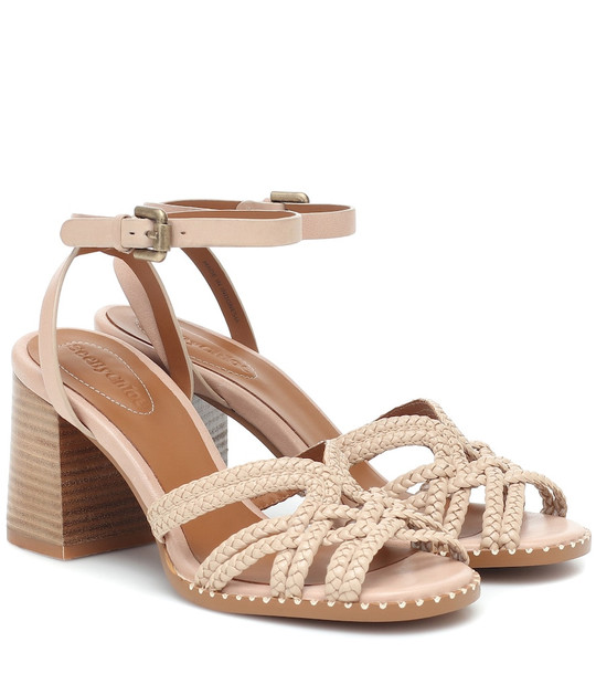 See By Chloé Braided-leather sandals in beige