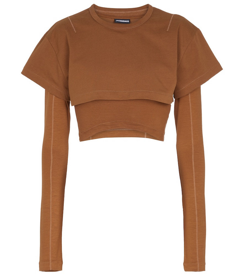 Jacquemus Le Double cropped cotton top in brown