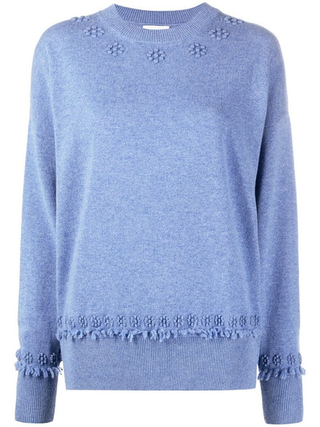 Barrie cashmere embroidered jumper in blue