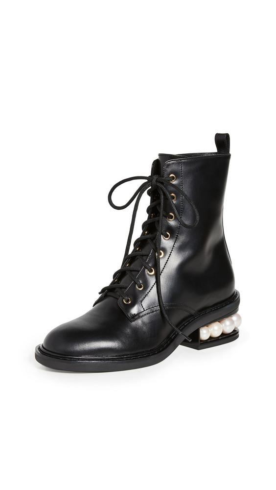 Nicholas Kirkwood Casati Pearl Combat Boots in black