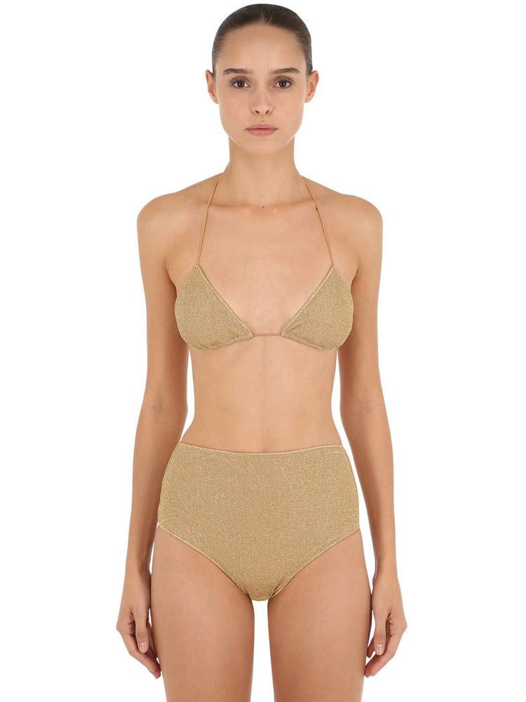 OSÉREE SWIMWEAR High Waisted Lurex & Lycra Bikini in gold