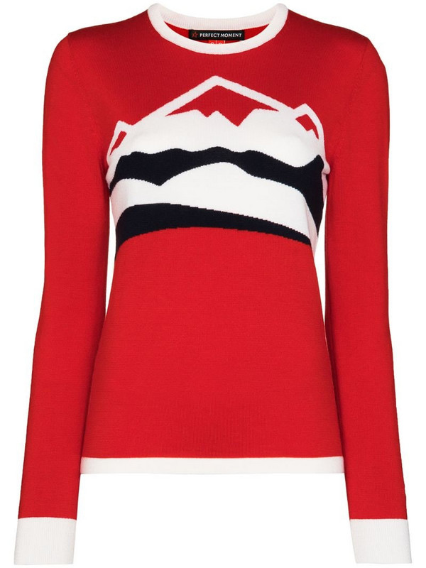 Perfect Moment Chamonix mountain-print knitted ski top in red