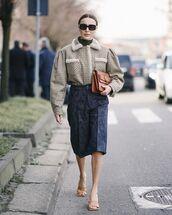 bag,brown bag,denim shorts,plaid,sandal heels