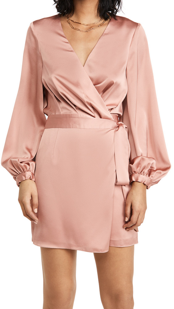 Fame and Partners The Blouson Sleeve Wrap Dress in blush