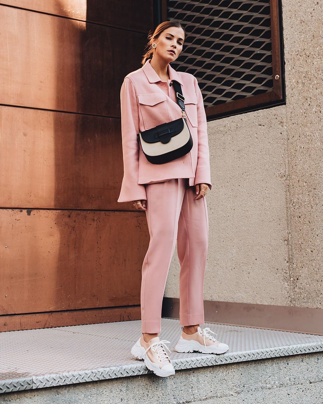 pants straight pants oversized jacket sneakers crossbody bag
