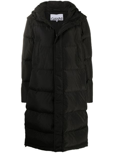GANNI detachable sleeves quilted puffer coat in black