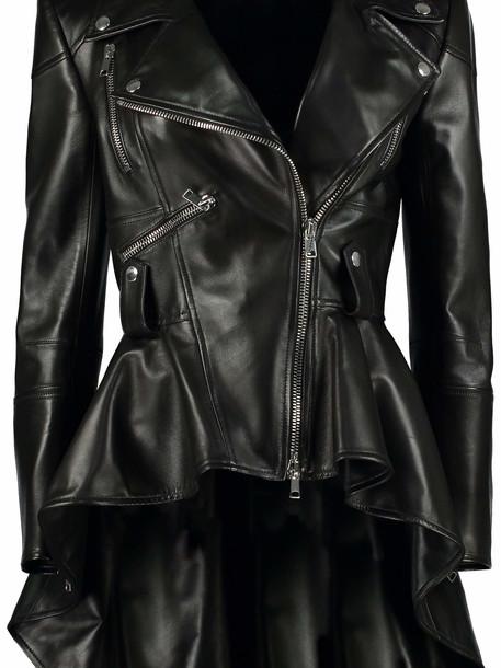 Alexander McQueen Leather Biker Jacket in black