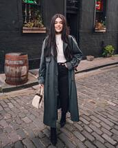 jeans,black skinny jeans,high waisted jeans,long coat,trench coat,vintage,grey coat,double breasted,white turtleneck top,black boots,white bag