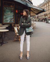 jeans,white jeans,slingbacks,black blazer,crossbody bag,turtleneck