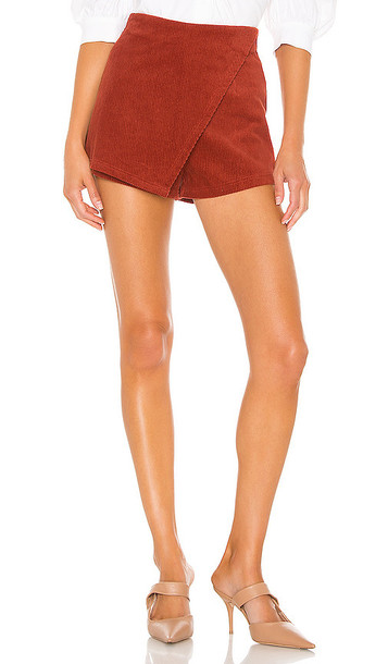 superdown Lana Corduroy Mini Skort in Red