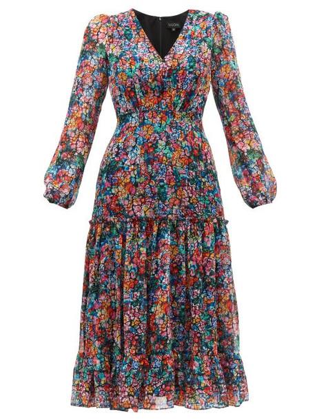Saloni - Devon Cracked Floral Print Silk Georgette Dress - Womens - Multi