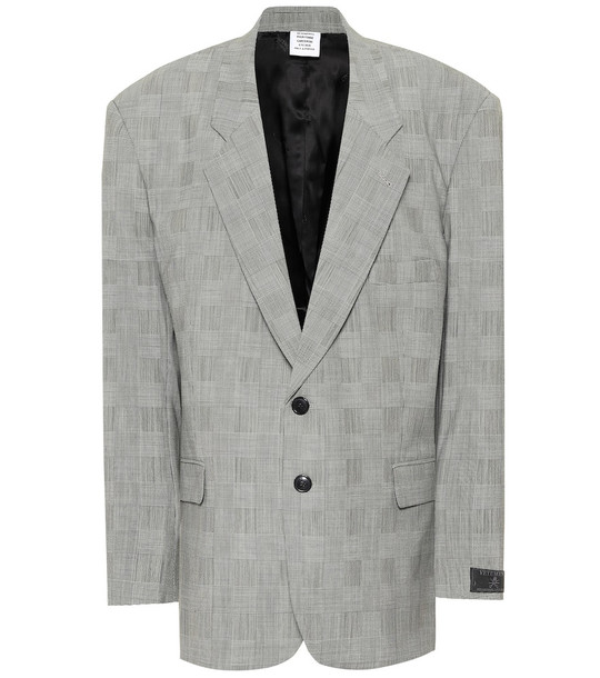 Vetements Checked wool-blend blazer in grey