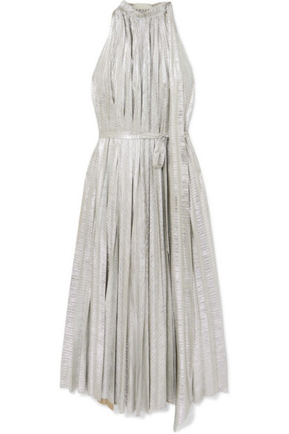 A.W.A.K.E. MODE - Oyster Pleated Lamé Maxi Dress - Silver