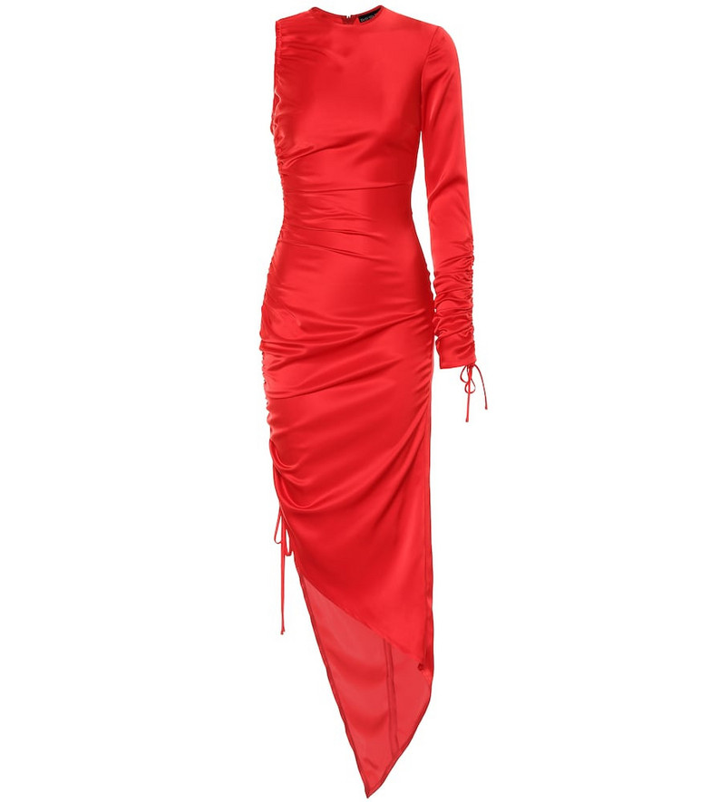 David Koma Ruched one-sleeve satin minidress in red