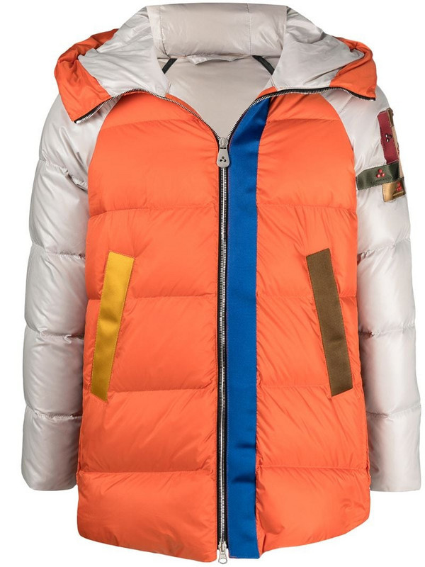 Peuterey colour-block puffer jacket in orange