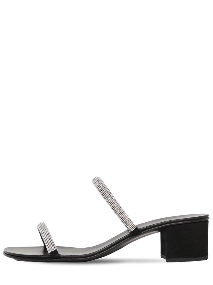 GIUSEPPE ZANOTTI DESIGN 40mm Suede & Swarovski Sandals in black