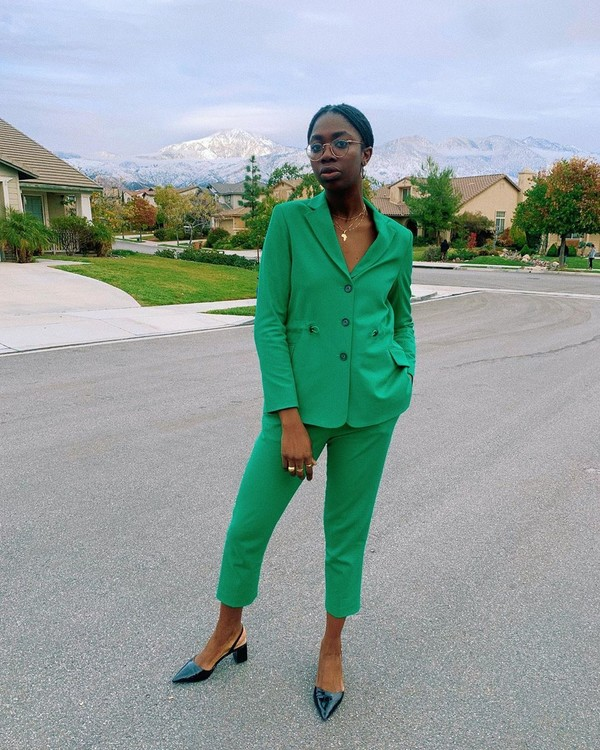 jacket blazer green cropped pants slingbacks