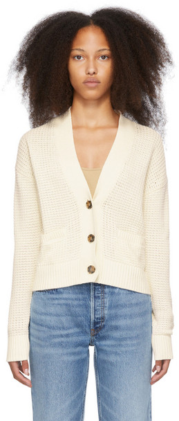 Re/Done Off-White Oversized 90s Crop Cardigan in ivory