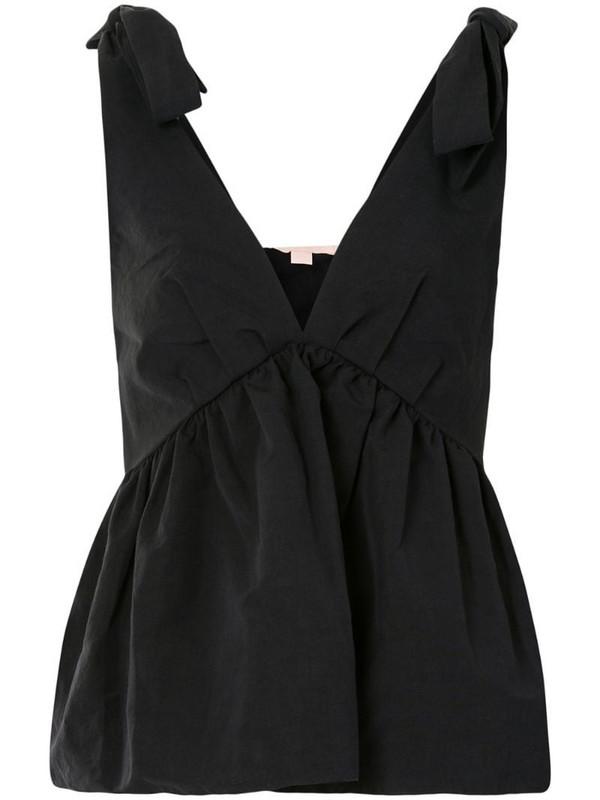 Brock Collection flared v-neck blouse in black