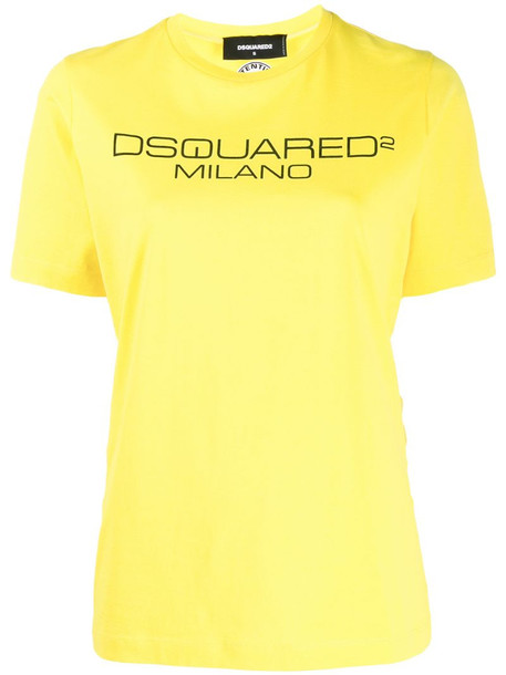 Dsquared2 logo print T-shirt in yellow