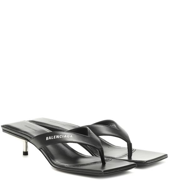 Balenciaga Metal 40 leather sandals in black