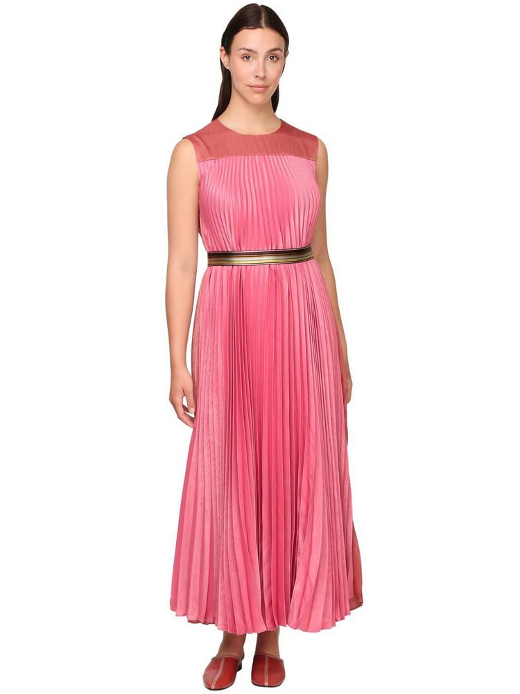 MARINA RINALDI Pleated Satin Dress W/ Belt in pink / multi