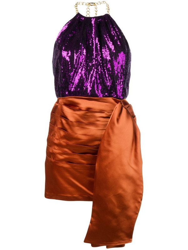 Christian Pellizzari short two-tone dress in purple
