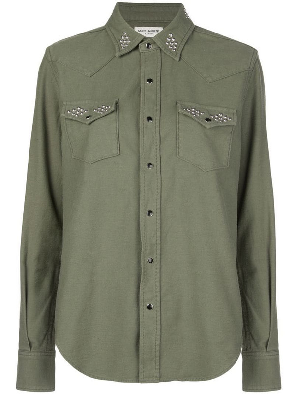 Saint Laurent round stud embellished shirt in green
