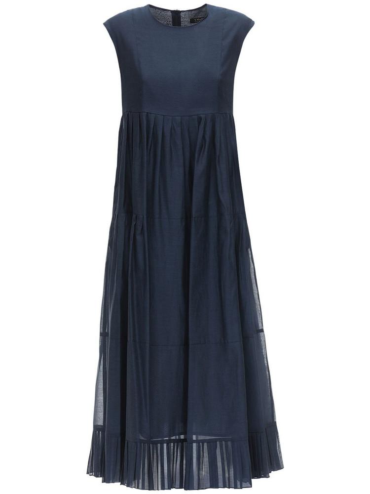 MAX MARA 'S Ruffled Cotton & Silk Long Dress in blue