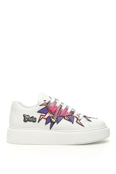Prada Heart Sneakers in white